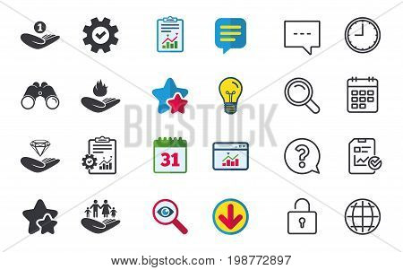 Helping hands icons. Financial money savings, family life insurance symbols. Diamond brilliant sign. Fire protection. Chat, Report and Calendar signs. Stars, Statistics and Download icons. Vector