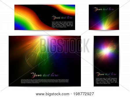 Banners of different sizes with rainbow design. Multicolored background with flag community colors lgbt.