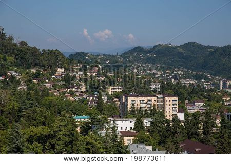 Day aerial cityscape of Sukhum, Abkhazia in summer