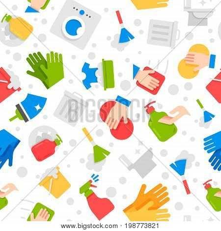 cleaning services company vector seamless flat design pattern