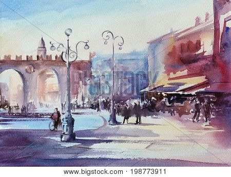 verona city central square - watercolor painting of iitalian town with paper texture