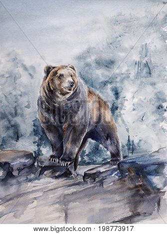 brown bear standing on rock cliff - watercolor painting of wild animal with paper texture