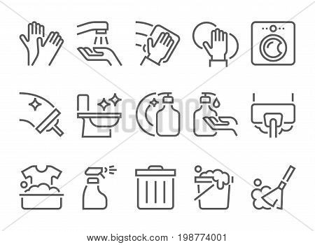 simple set of cleaning related vector flat line icons. 48 pixel