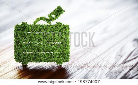 Ecology tourism concept. 3D illustration on wooden background.