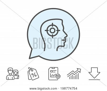 Head hunting line icon. Business target or Employment sign. Report, Sale Coupons and Chart line signs. Download, Group icons. Editable stroke. Vector
