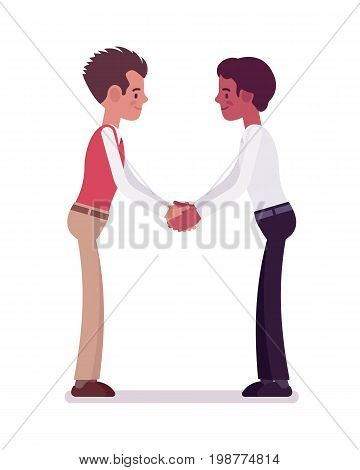Male clerks handshaking with both hands. Positive work environment, job satisfaction, stimulation. Corporate behavior concept. Vector flat style cartoon illustration, isolated, white background