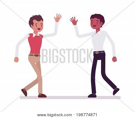 Male clerks happy greeting. Friendship at the workplace, positive co-workers, workplace satisfaction. Corporate behavior concept. Vector flat style cartoon illustration, isolated, white background