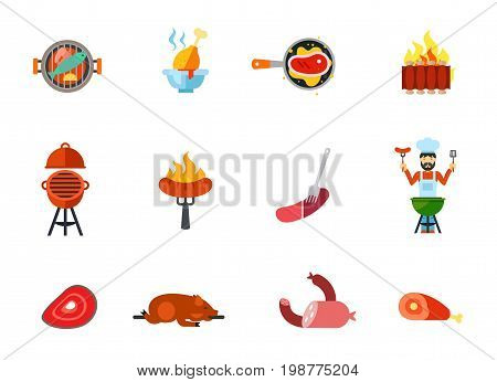 Fried food icon set. Barbecue Fish Chicken Drumstick Steak Ribs Oven Sausage Man Cooking Grilled Pig Meat Products Ham With Bone