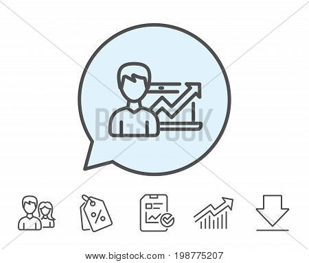 Business results line icon. Growth chart sign. Report, Sale Coupons and Chart line signs. Download, Group icons. Editable stroke. Vector