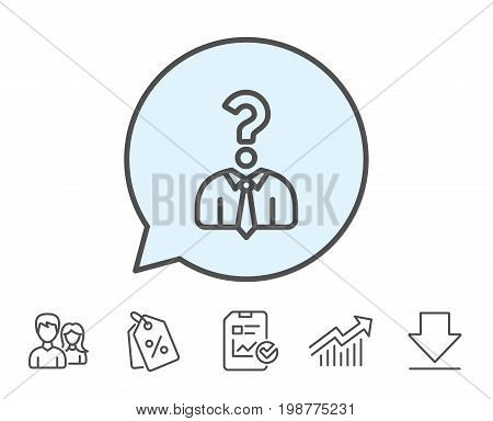 Business head hunting line icon. Question sign. Human resources symbol. Report, Sale Coupons and Chart line signs. Download, Group icons. Editable stroke. Vector