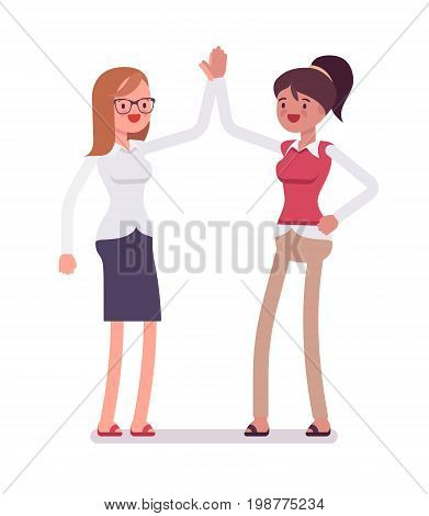 Female clerks giving high five. Office recruitment and training, effective new ideas. Human relations in workplace concept. Vector flat style cartoon illustration, isolated, white background