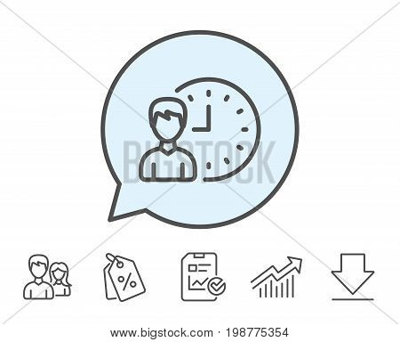 Business project deadline line icon. Working hours or Time management sign. Report, Sale Coupons and Chart line signs. Download, Group icons. Editable stroke. Vector