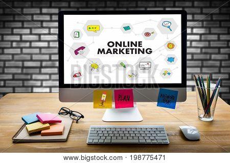 Online Marketing Man On Computer Advertisement Social On Line Market Word  Startup Marketing Online