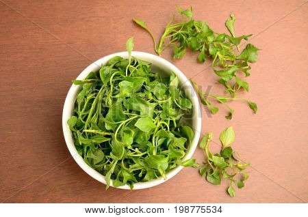 Fresh watercress in the bowl,organic vegetables for cooking