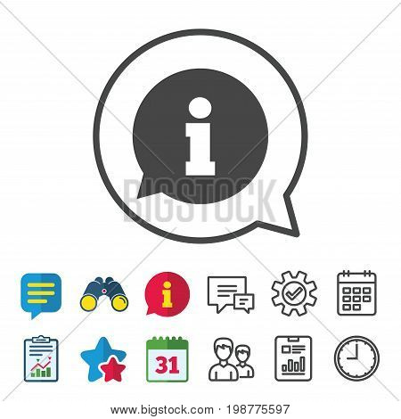 Information sign icon. Info speech bubble symbol. Information, Report and Calendar signs. Group, Service and Chat line icons. Vector