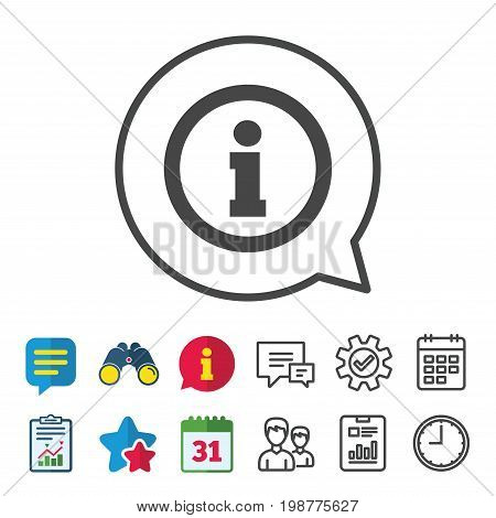 Information sign icon. Info symbol. Information, Report and Calendar signs. Group, Service and Chat line icons. Vector
