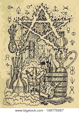 Mystic drawing with alchemical symbols, skull, fire pentagram and laboratory equipment on texture background. Occult and esoteric vector engraved illustration, tattoo gothic and wicca concept