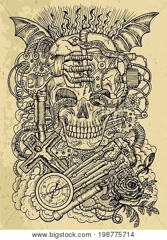 Mystic drawing with scary skull, steampunk symbols, rose, demon wings, cross, cogs and wheels on texture background. Occult and esoteric vector engraved illustration, tattoo gothic and wicca concept