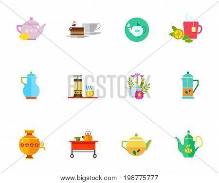 Herbal tea icon set. Teapot with Lemon Hot Tea Teapot and Cup on Tea-trolley Mint Herbal Press Pot