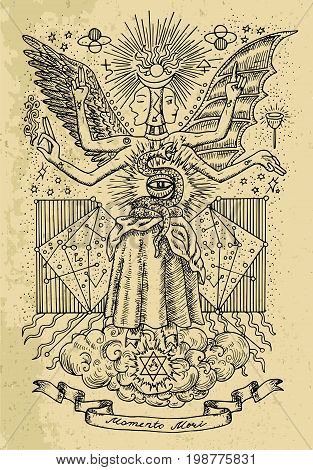 Mystic or occult drawing of spiritual symbols, goddess of wisdom and eternity, vignette banner and constellations on texture background. Latin text Momento Mori means Remember that you have to die
