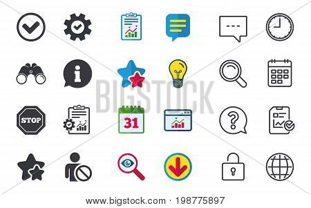 Information icons. Stop prohibition and user blacklist signs. Approved check mark symbol. Chat, Report and Calendar signs. Stars, Statistics and Download icons. Question, Clock and Globe. Vector