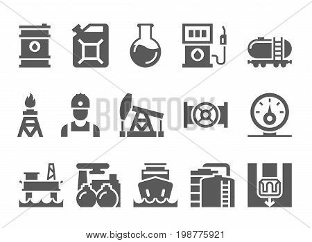 oil and petrol industry objects. icons set of heavy industry, mining resources, tanker and fuel, energy industry.