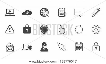 Internet privacy icons. Cyber crime signs. Virus, spam e-mail and anonymous user symbols. Chat, Report and Calendar line signs. Service, Pencil and Locker icons. Click, Rotation and Cursor. Vector