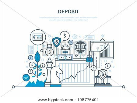 Deposit, investment, financial growth. Financial strategy, economic management, contribution, security transction, accounting. Illustration thin line design of vector doodles, infographics elements