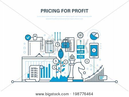 Pricing strategy and pricing for profit, time management, marketing, planning, research, protection of payment, deposits, financial growth. Illustration thin line design of vector doodles.