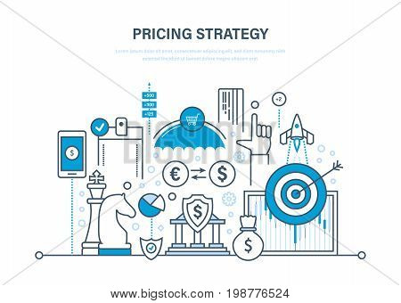 Pricing strategy, time management, marketing, planning, research, protection of payment, deposits, financial growth. Illustration thin line design of vector doodles, infographics elements