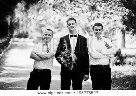 Handsome Groom Walking With His Bestmen Or Groomsmen In The Park On A Wedding Day. Black And White P