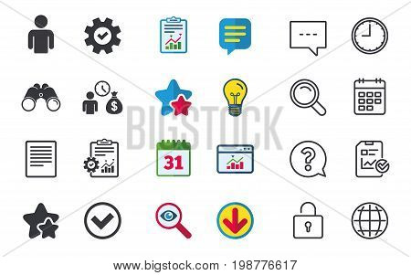 Bank loans icons. Cash money bag symbol. Apply for credit sign. Check or Tick mark. Chat, Report and Calendar signs. Stars, Statistics and Download icons. Question, Clock and Globe. Vector
