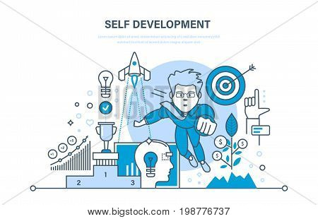 Self development. Growth of finance and success on work. Training, education, practice, start-up, leadership. Illustration thin line design of vector doodles, infographics elements.