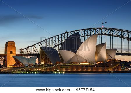 SYDNEY AUSTRALIA - August 7 2017: View of Sydney Opera House. Sydney Australia Over 10 millions tourists visit Sydney every year