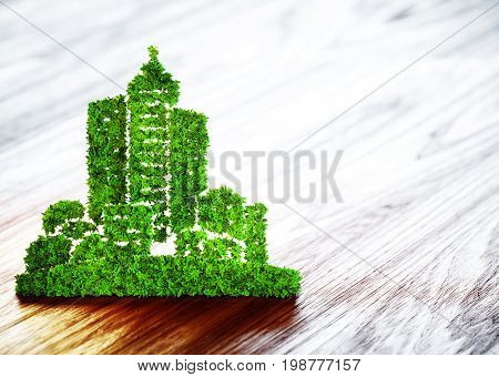 Green ecology city development icon on wooden background. 3d illustration.