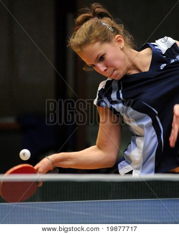 KAPOSVAR, HUNGARY - NOVEMBER 21: Orsolya Nagy in action at Hungarian National Championship table tennis game Kaposvar vs Tolna November 21, 2009 in Kaposvar.