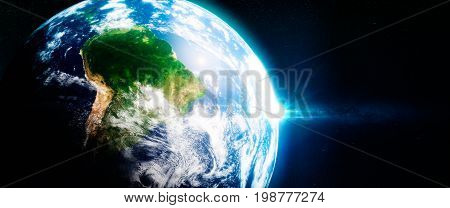 Fresh Green Rainorests In South America Viewed From The Space.