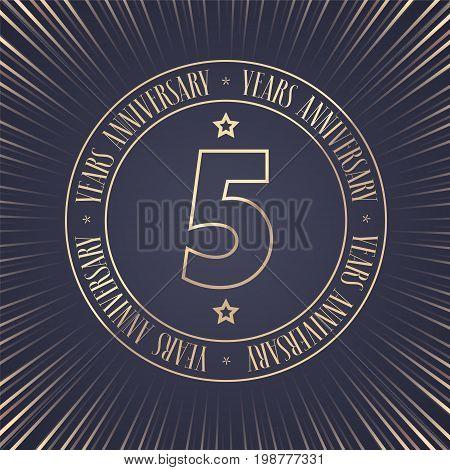 5 years anniversary vector icon logo. Graphic design element with golden stamp with number for 5th anniversary ceremony
