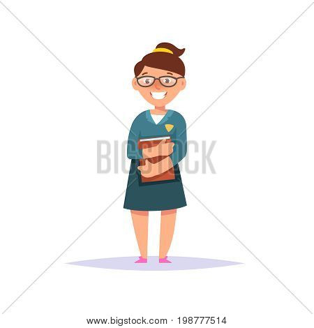 Vector illustration icon elementary school girl colorful clothes with textbook and backpack isolated white background. Cartoon style