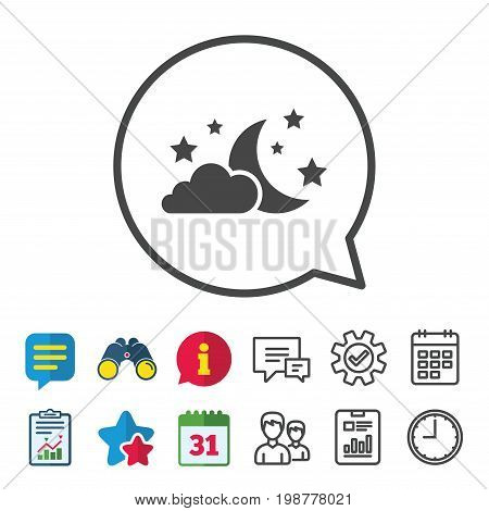 Moon, clouds and stars icon. Sleep dreams symbol. Night or bed time sign. Information, Report and Calendar signs. Group, Service and Chat line icons. Vector