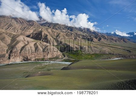 The mountain slopes and the river valley this morning in the Tien Shan Kyrgyzstan.