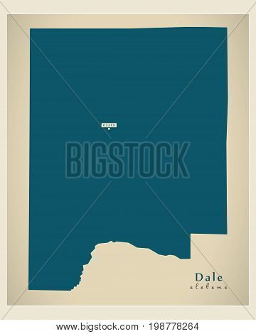 Modern Map - Dale Alabama County Usa Illustration