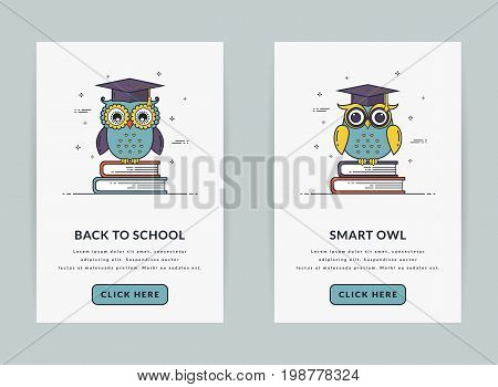 Mobile app onboarding screen templates for education and school application. Modern user interface in line style. UI concept with owls sitting on books. GUI design for smartphone or web site banners.
