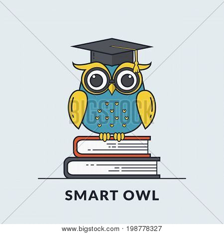 Education banner with smart owl sitting on books. Back to school graduation or learning themes. Vector illustration. Flat line design.