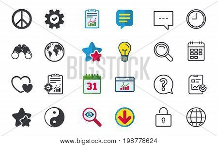 World globe icon. Ying yang sign. Hearts love sign. Peace hope. Harmony and balance symbol. Chat, Report and Calendar signs. Stars, Statistics and Download icons. Question, Clock and Globe. Vector