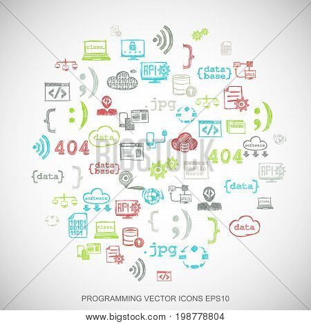 Multicolor doodles flat Hand Drawn Programming Icons set In A Circle on White background. EPS10 vector illustration.