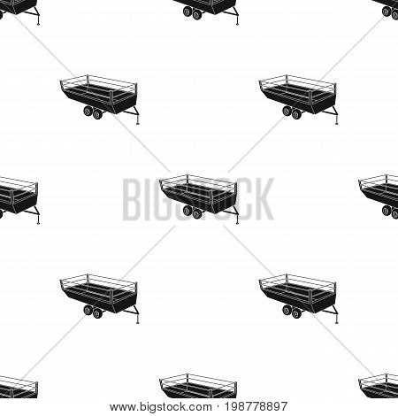Grey trailer on wheels for transportation of farm animals.Agricultural Machinery single icon in black style vector symbol stock web illustration.