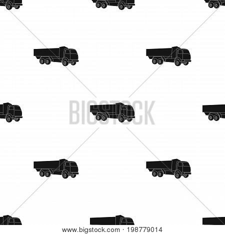 Pickup rural truck. Tow auto. Truck with orange body for the transport of agricultural crops.Agricultural Machinery single icon in black style vector symbol stock web illustration.