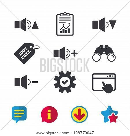 Player control icons. Sound louder and quieter signs. Dynamic symbol. Browser window, Report and Service signs. Binoculars, Information and Download icons. Stars and Chat. Vector