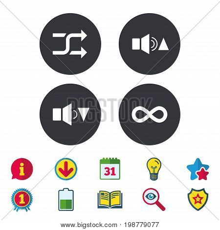 Player control icons. Sound louder and quieter signs. Dynamic symbol. Shuffle random and repeat loop. Calendar, Information and Download signs. Stars, Award and Book icons. Vector